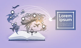 Open Book Earth Planes Read School Education Global Knowledge Concept Royalty Free Stock Image