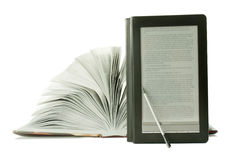 Open book and ebook reader Royalty Free Stock Photography