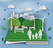Open book with eco composition in paper art style of family in park on green town shape. Concept and ecology idea, vector illustration in digital craft style royalty free illustration