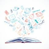 Open book education concept doodle Stock Photos