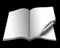 Open book with empty pages with a paper royalty free illustration