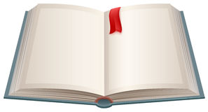 Open book with empty sheets and red bookmark Royalty Free Stock Photography