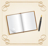 Open book with empty space for text and pen Stock Photography