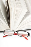 Open Book with eyeglass Stock Photography