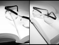 Open book and eyeglasses Royalty Free Stock Photography