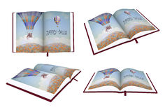 Open book of fairy tales on white background Royalty Free Stock Photo