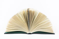 Open book. A fanned open hardback book isolated on white Royalty Free Stock Photos