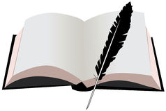 Open book and a feather Stock Images