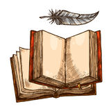 Open book and feather pen sketch with copy space stock illustration