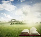 Open book in field. Open book in a meadow Royalty Free Stock Photography