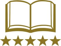 Open book with five golden stars. Vector Royalty Free Stock Photos