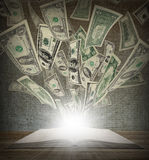 From an open book flied out money Stock Image