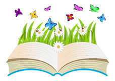 Open book, flowers and butterflies Royalty Free Stock Photography