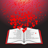 Open book with flying hearts Royalty Free Stock Image