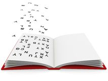 Open book with fonts flying around Royalty Free Stock Images