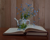Open book with forget me not flowers. On wooden background Stock Images
