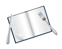 Open book, fork and knife Royalty Free Stock Images