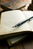 Open book with fountain pen Royalty Free Stock Images