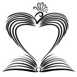 Open book and frame in the shape of a heart bird vector illustration