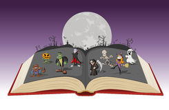 Open book with full moon over a cemetery with funny cartoon classic monster characters royalty free illustration