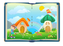 Open book about funny girls and magical world. Vector stock illustration