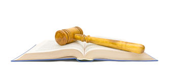 Open book and gavel on white background Stock Photo