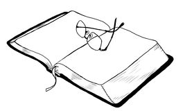 Open Book with Glasses. An open book with glasses resting on top Royalty Free Stock Image