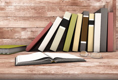 The open book and glasses against the wooden shelf with books. 3d illustration Stock Image