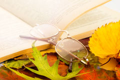 Open book with glasses Stock Photography