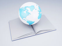 Open book and globe. knowledge  concept Stock Photography