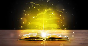 Open book with golden glow flying paper pages. On wooden deck Stock Photo