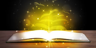Open book with golden glow flying paper pages Royalty Free Stock Photo