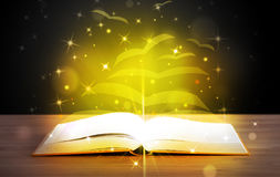 Open book with golden glow Royalty Free Stock Images