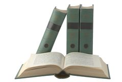 Open book with green cover. Isolated over white Royalty Free Stock Image