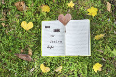 Open book on a green grass background with autumn leaves. Love.smile.joy.desire.hope stock images