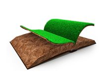 Open book of green grass and soil texture, 3D illustration royalty free stock image