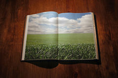 Open book with green landscape Royalty Free Stock Image