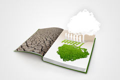 Open book with green nature Royalty Free Stock Photography