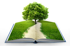 Open book with green nature. Concept vector illustration