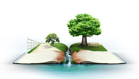 Open book with green nature Royalty Free Stock Images