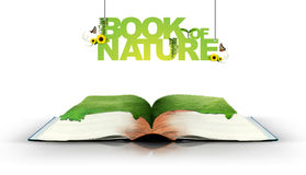 Open book with green nature Royalty Free Stock Photos