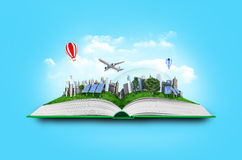 Open book with green nature world coming out Stock Photos