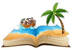 Open book with group of pirate on the beach royalty free illustration