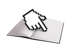 Open Book and Hand Cursor Stock Photos