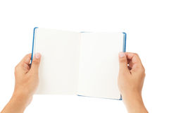 Open Book and hand on white Royalty Free Stock Photos
