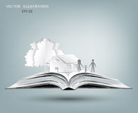 Open book of happy family stories Royalty Free Stock Photography