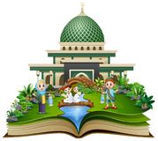 Open book with happy muslim family greeting in front of a mosque stock illustration