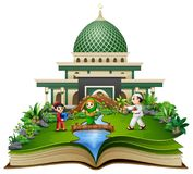 Open book with happy muslim kids cartoon playing in front of a mosque stock illustration