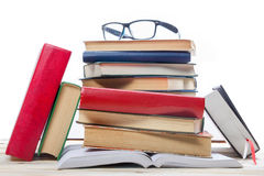 Open book, hardback books on wooden background. Back to school. Copy space.  Royalty Free Stock Photography