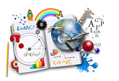 Open Learning Book with Science and Math. An open book has various math, science and space concepts coming out of it for a school or learning concept stock photo